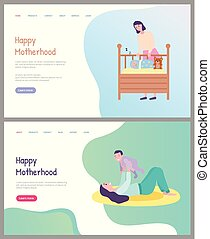 preoccupare, maternità, madre, capretto, gioco, felice