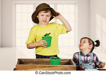 preoccupare, piante, sorella, giardinaggio, fratello