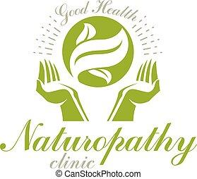 preoccupare, primavera, medico, leaves., riabilitazione, verde, tenere mani, logo., astratto