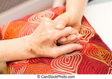 preoccupare, vecchio, giovane, mani