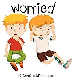 preoccupato, inglese, vocabolario