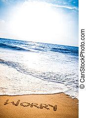 preocupação, escrito, em, a, areia, ligado, um, praia