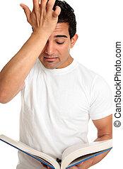 preocupado enfatizado, frustrado, estudiar, estudiante