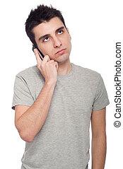 preocupado, homem, telefone