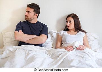 preocupado, y, aburrido, amantes, pareja, después, discusión
