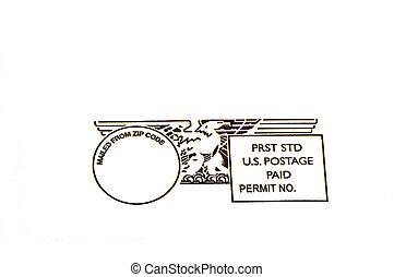Prepaid postage - A prepaid US postage isolated on white