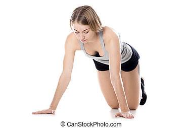 preparação, mulher, sporty, push-ups