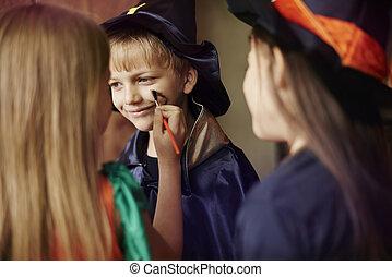 preparação, para, a, partido halloween