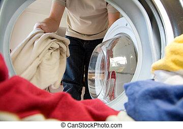 preparação, para, lavando
