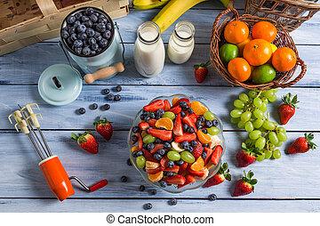 preparações, para, caseiro, saudável, e, salada fresca fruta
