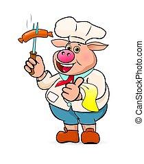 prepara, cozinheiro, linguiças, gostosa, churrasco