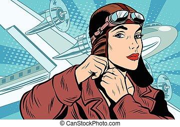 prepara, menina, partida, piloto