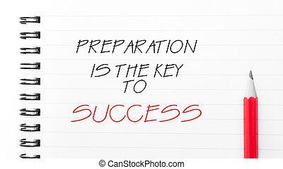 preparación, éxito, llave