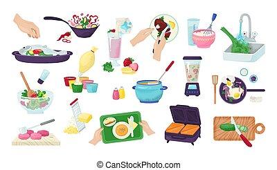 preparación de la comida, batería de cocina, illustration., alimento, preparando, conjunto, vector, manos, cocina, utensils., recetas, cocina