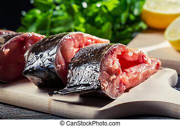 preparación, freír, primer plano, pez, fresco