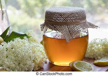 preparación, natural, jarabe, anciano, flor