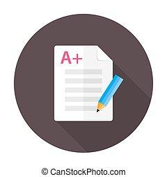 preparación, plano, círculo, examen, icono