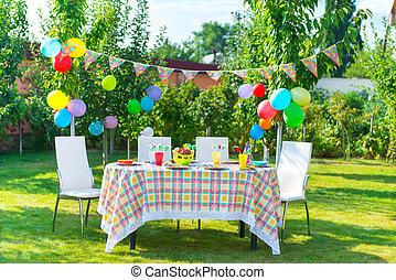 preparado, cumpleaños, tabla