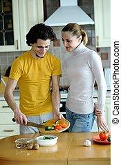 preparando, alimento vegetariano