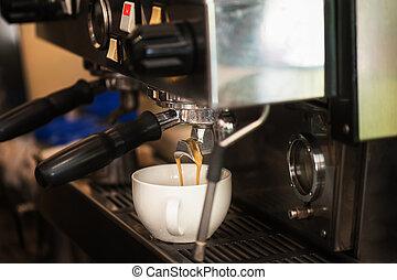 preparando, café, en, café