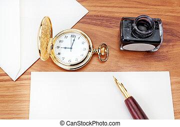 preparando, para escribir, un, carta, a, el, la habana,...
