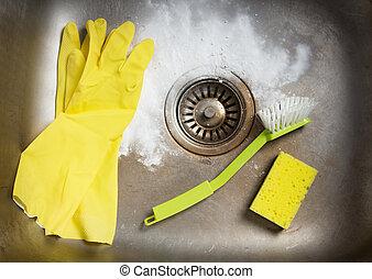 preparando, para limpiar, el, fregadero
