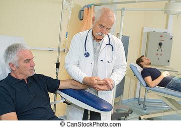 preparando, para, transfusión de sangre