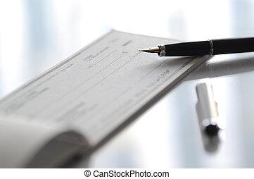 preparar, escrito um cheque