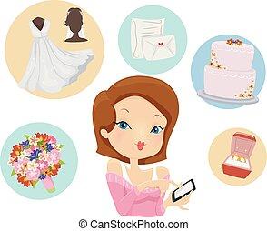 preparar, móvel, app, ilustração, casório, menina