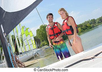 preparar, para, sailboat