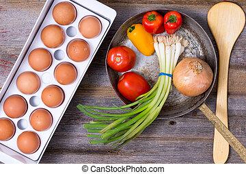 preparare, uno, sano, vegetariano, omelette