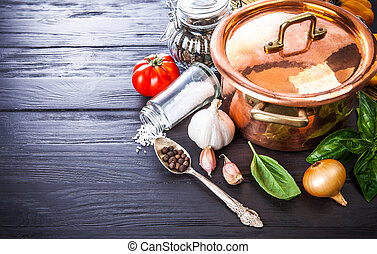 Preparation food copper pan with vegetables and