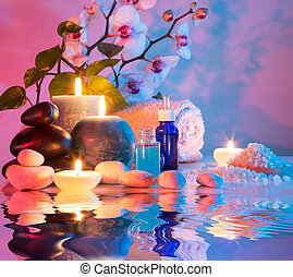 preparation for bath massage in chromotherapy - cyan red