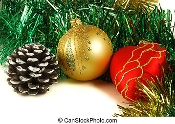 Preparation for christmas holidays, christmas-tree decorations