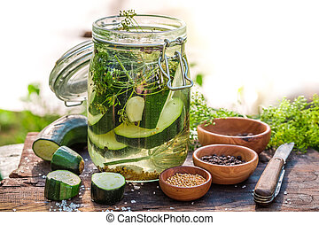 Preparation for pickled courgette in summer