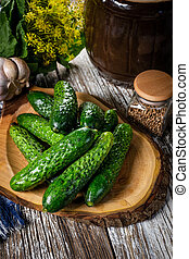 Preparation for pickling cucumbers.