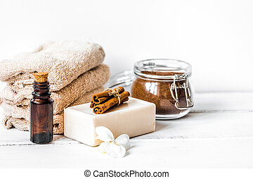 Preparation for spa treatments on white background