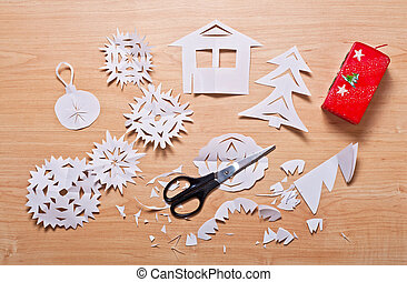 Paper snowflakes and other handmade decoration