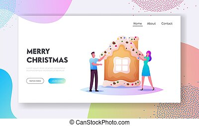 Preparation for Xmas Celebration Landing Page Template. Tiny Male and Female Baking Huge Christmas Gingerbread House