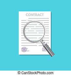 Preparation, inspection business contract concept. Vector illustration.