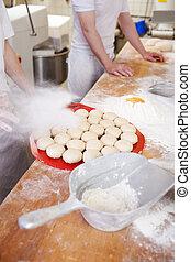 Preparation of bread rolls