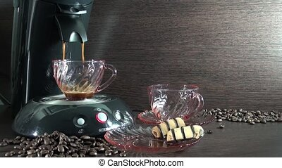 Preparation of fresh coffee in a c