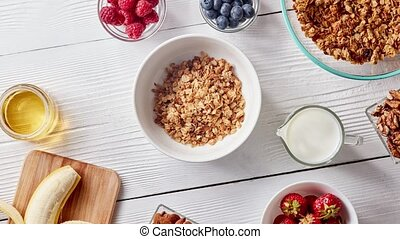Preparation of healthy breakfast from natural organic...