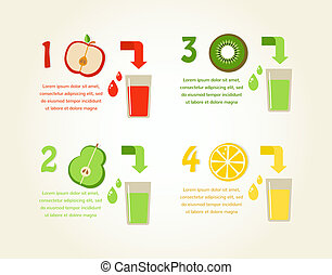 preparation of healthy fruit juices. vector infographics