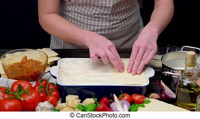 Preparation of homemade lasagna