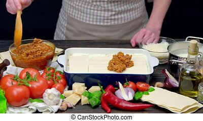 Preparation of homemade lasagna