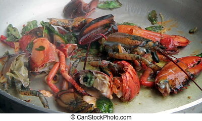 preparation of Lobster with tomato