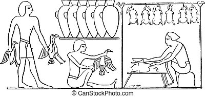 Preparation of poultry, vintage engraving.
