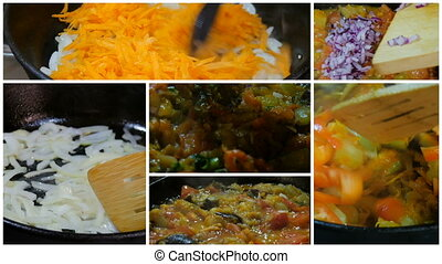 Preparation of ragout of vegetables, collage HD