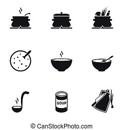 Preparation of soup, soup in a bowl. Set of icons
